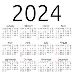 Calendar 2024 sunday vector