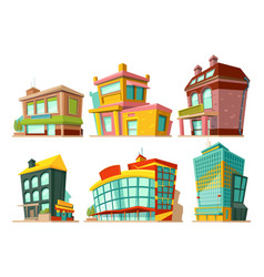 Cartoon buildings set vector
