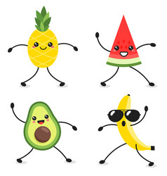 cartoon characters dancing avocado watermelon vector image