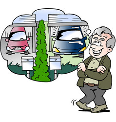 Cartoon of a happy old man compares the car with vector