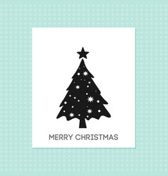 Chrismtas card with tree and pattern background vector