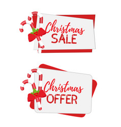 christmas banners for sale with sugar cane vector image