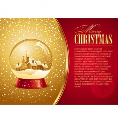 Christmas card with snow globe vector