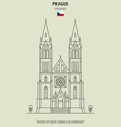 church saint ludmila in prague czech republic vector image