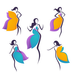 collection girls look like a bright flowers or vector image