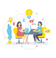 color of two woman are sitting at table on vector image