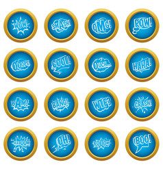 comic colored sound icons blue circle set vector image