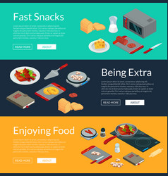 cooking food isometric banners vector image