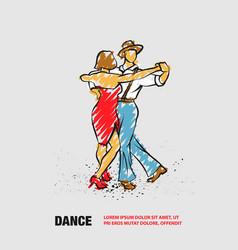 couple dancing foxtrot outline dance vector image