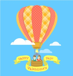 Couple in love on a hot air balloon vector