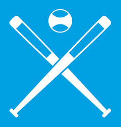 Crossed baseball bats and ball icon white vector