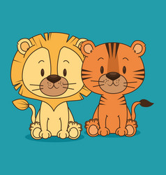 cute and little lion and tiger characters vector image