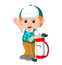 Cute golfer cartoon vector
