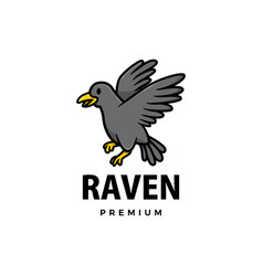 cute raven cartoon logo icon vector image
