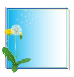 Dandelion Taraxacum Blowball Flower Blue Frame vector