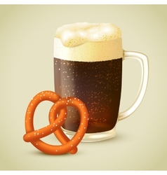 Dark beer and pretzel vector