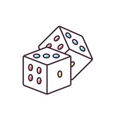 Dice games rgb color icon vector