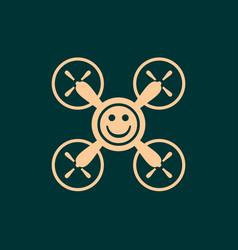Drone quadrocopter icon smiley symbol vector