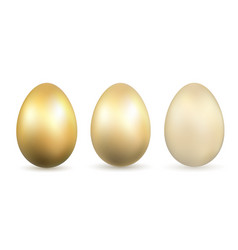 easter egg 3d icons gold eggs set isolated white vector image