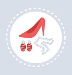 female shoes jewelry accessories shopping icon vector image