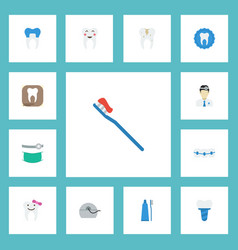 Flat icons decay orthodontist dental crown and vector