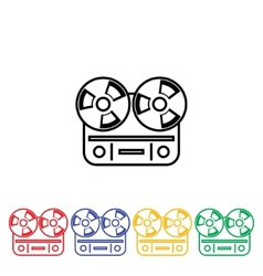 Flat long shadow reel tape recorder vector image