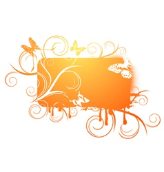 floral and butterfly frame vector image
