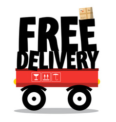 Free delivery parcel and title on vehicle vector