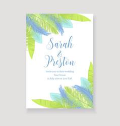 Fresh palm leaves wedding invitation vector