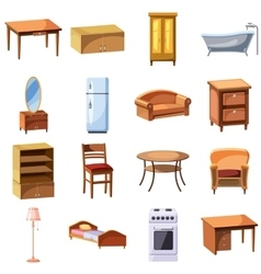 Furniture and household appliances icons set vector