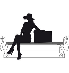 girl with suitcase vector image