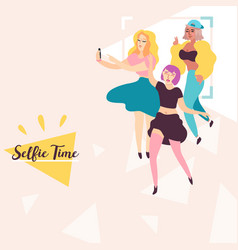 girls make selfies flat vector image