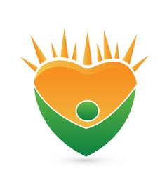 green healthy man and bright sun logo vector image