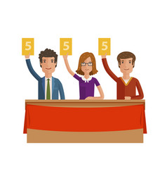 group of judges jury people hold up scorecards vector image