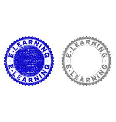 grunge e-learning textured stamp seals vector image