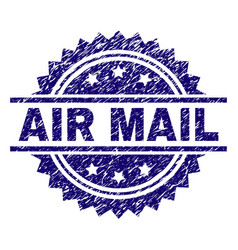 grunge textured air mail stamp seal vector image