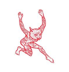 Half Man Half Owl With Tattoos Dancing vector image