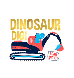 hand drawing digger and worker dinosaur vector image