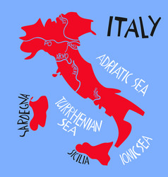 hand drawn stylized map italian republic vector image