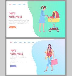happy motherhood mom and baby in pram website vector image