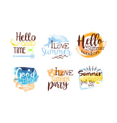 Hello good time labels set enjoy summer vacation vector