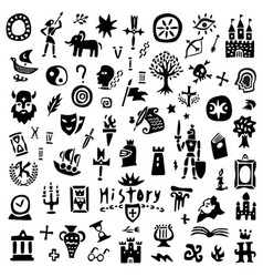 History sign and symbols doodles graphic icon vector