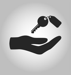 Icon hand holding key isolated vector