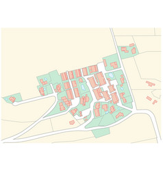 Imaginary cadastral map an area with buildings vector