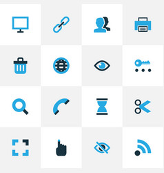 Interface icons colored set with search hide eye vector