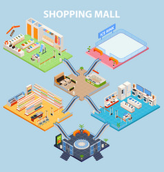 isometric plaza interior concept vector image vector image