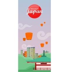 Japan Travelling Banner Japanese Landmarks vector