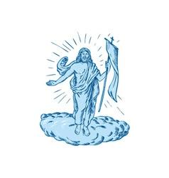 Jesus Christ Resurrection Etching vector