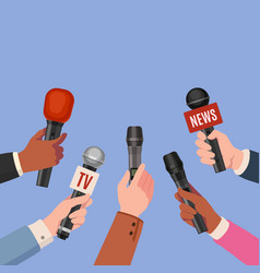 journalist hands with microphones reporters with vector image