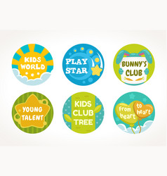 Kids buttons and labels design round cute pins vector